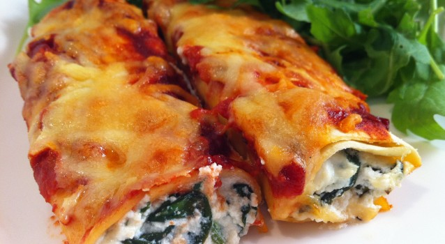 3 portions Freshly frozen Cannelloni with spinach and fetta