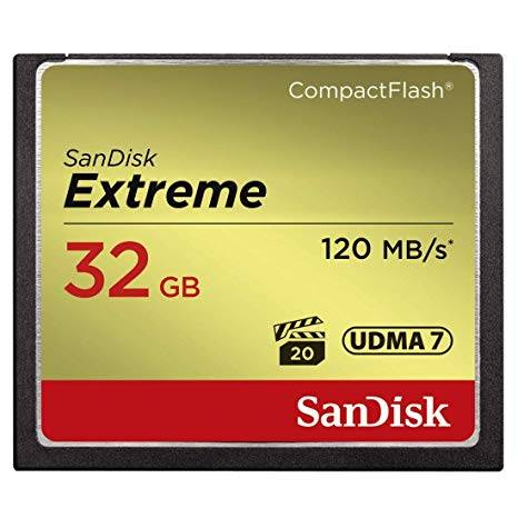SANDISK Extreme CF 120MB/s, 85MB/s write, UDMA7, 32GB Lifetime warranty