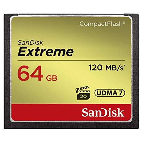 SANDISK Extreme CF 120MB/s, 85MB/s write, UDMA7, 64GB,, Lifetime warranty
